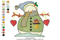 Snowman in Love - Rippled - Machine Embroidery Design