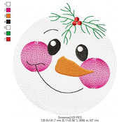 Snowman Faces Pack with 3 designs - Rippled - Machine Embroidery Design
