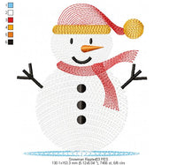 Cute Snowman  - Rippled - Machine Embroidery Design