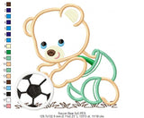 Teddy Bear and Soccer Ball - Applique - Machine Embroidery Design