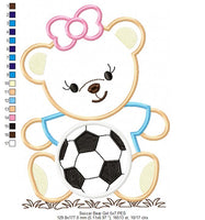 Teddy Bear and Soccer Ball - Applique - 4x4 5x7 6x10 7x12