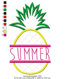 Summer Pineapple - Applique -  Machine Embroidery Design