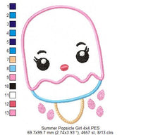 Summer Popsicle Girl - Applique - 4x4 5x7 6x10 7x12