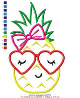 Summer Pineapple Girl with Glasses - Applique Machine Embroidery Design