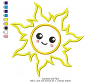 Happy Sun, Sunshine, Summer - Applique - Machine Embroidery Design