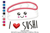 I Love Sushi - Applique - Machine Embroidery Design