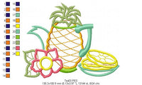 Pineapple Teapot  - Applique - 4x3 5x4 6x5 7x6