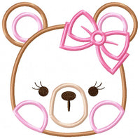 Teddy Bear Girl - Applique - 4x4 5x5 6x6 7x7