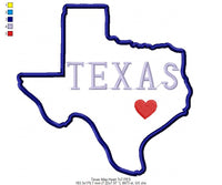 Texas Map Heart - Applique - Machine Embroidery Design