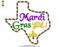 Texas Map Mardi Gras Y'all  - Fill Stitch - 4x4 5x5 6x6 7x7
