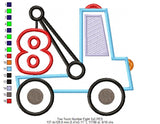 Tow Truck Number 8 - Applique - Machine Embroidery Design