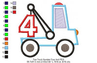 Tow Truck Number 4 - Applique - Machine Embroidery Design