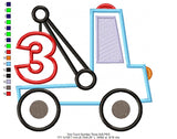 Tow Truck Number 3 - Applique - Machine Embroidery Design