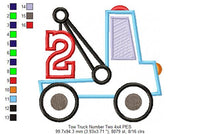 Tow Truck Number 2 - Applique - 4x4 5x5 6x6 7x7