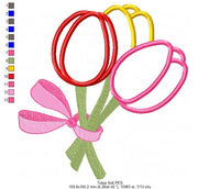 Tulips Bouquet - Applique - 4x4 5x5 6x6 7x7