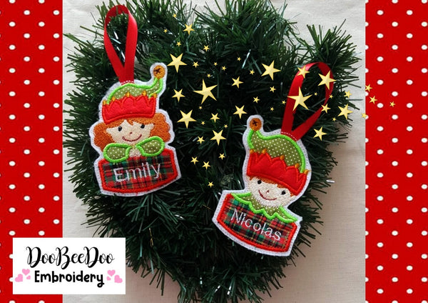 Elf Christmas Ornaments - Applique - Machine Embroidery Design