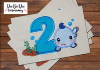 3D Fish Number Two - 2nd Birthday - Applique - Machine Embroidery Design