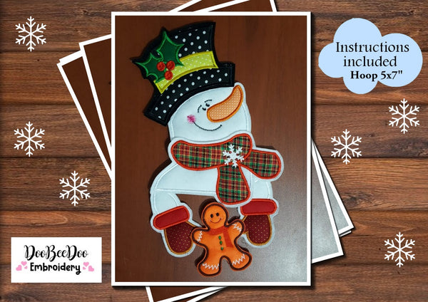 Christmas Snowman - Door or Chimney Hanger - Applique - Machine Embroidery Design