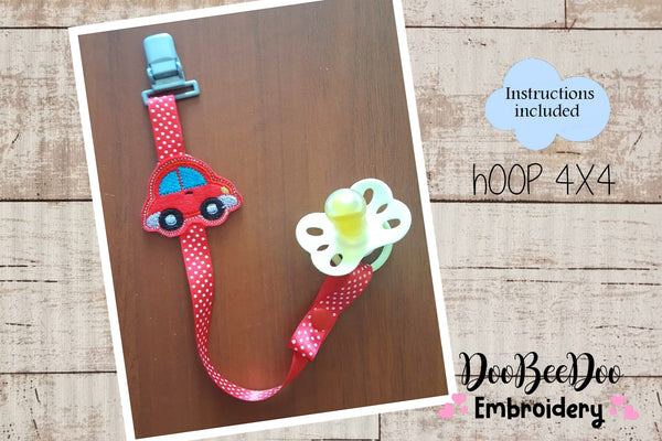Pacifier Holder Car - Hoop 4x4 - Applique - Machine Embroidery Design