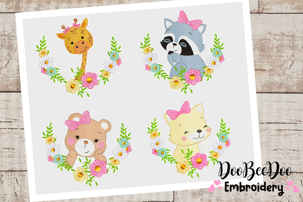 Collection animals in frame with flowers - Fill Stitch / Rippled - 6 Sizes and 4 Designs  - Machine Embroidery Design