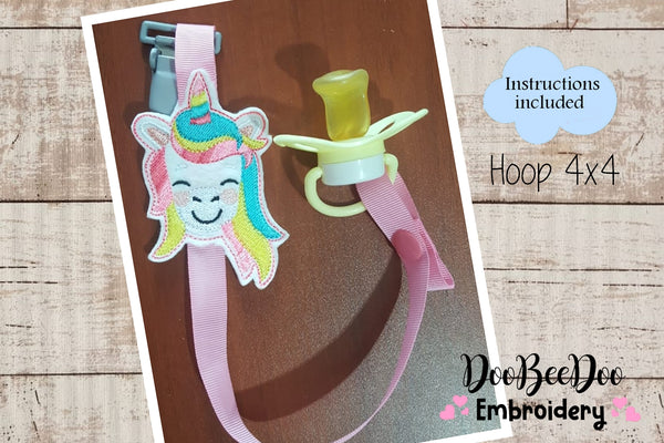 Pacifier Holder Unicorn - Hoop 4x4 - Applique - Machine Embroidery Design