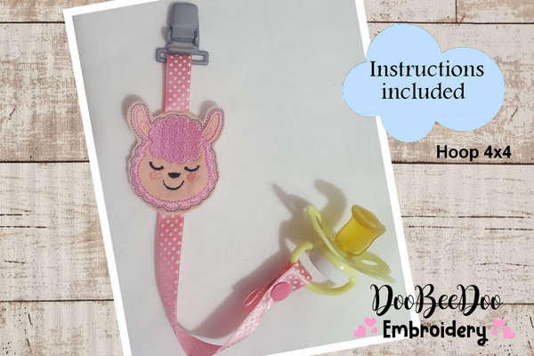 Pacifier Holder Llama - Hoop 4x4 - Applique - Machine Embroidery Design