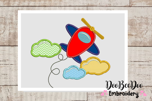 Airplane with clouds - Applique - 6 Sizes - Machine Embroidery Designs