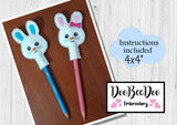 ITH Pencil Topper Bunny Girl and Boy   - Applique - Machine Embroidery Design