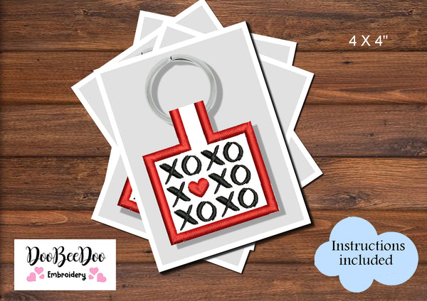 XOXO - Keychain - Machine Embroidery Design