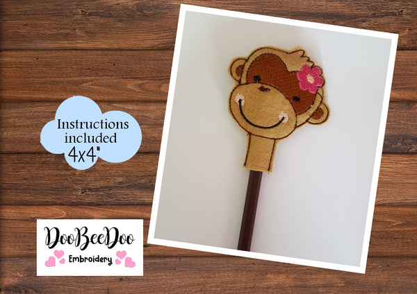 ITH Pencil Topper Little Monkey Girl   - Applique - Machine Embroidery Design