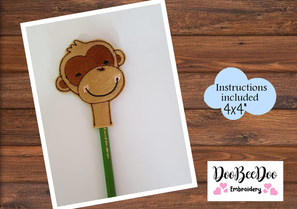 ITH Pencil Topper Little Monkey Boy  - Applique - Machine Embroidery Design