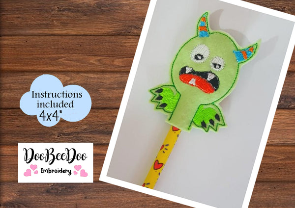 ITH Pencil Topper  Little Green Monster - Applique - Machine Embroidery Design