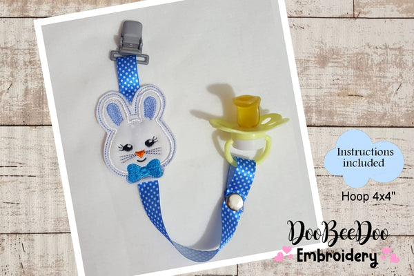 Pacifier Holder Bunny Boy - Hoop 4x4 - Applique - Machine Embroidery Design