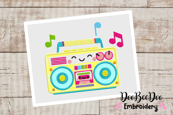 Colorful Summer Radio- applique  - 5 sizes  - Machine Embroidery Design