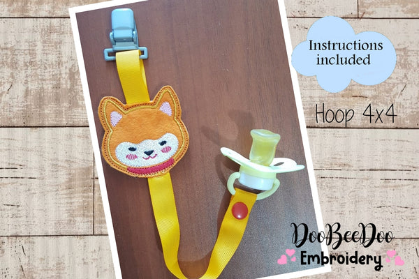 Pacifier Holder Fox Boy - Hoop 4x4 - Applique - Machine Embroidery Design