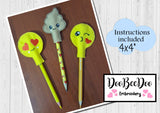 ITH Pencil Topper Emoticons  - Applique - Machine Embroidery Design