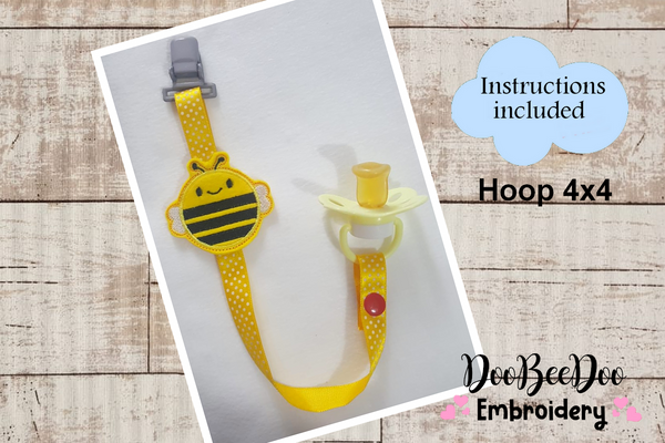 Pacifier Holder Bee - Hoop 4x4 - Applique - Machine Embroidery Design