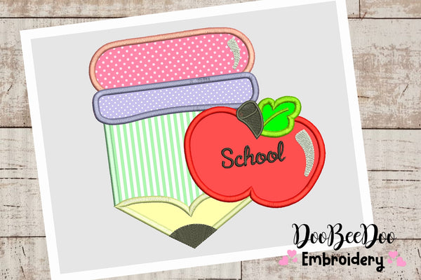 Pencil with apple - Applique - 4x4 5x5 6x6 7x7 - Machine Embroidery Design