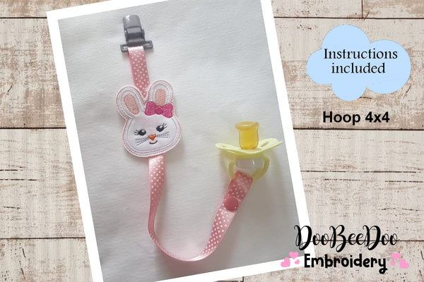 Pacifier Holder Bunny Girl - Hoop 4x4 - Applique - Machine Embroidery Design