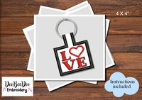 Love - Keychain - Machine Embroidery Design