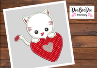 Cat in love - Applique - Machine Embroidery Design