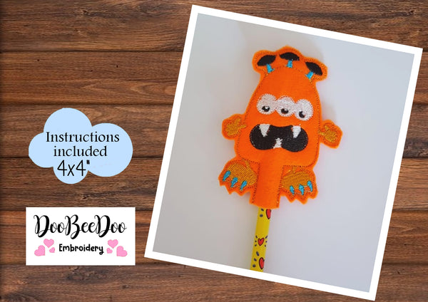 ITH Pencil Little Orange Monster -  Applique - Machine Embroidery Design