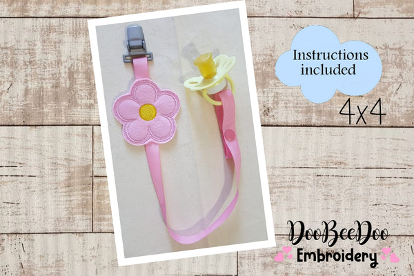 Pacifier Holder Flower - Hoop 4x4 - Applique - Machine Embroidery Design