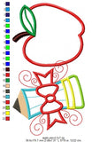 Apple and Pencil - Back to School - Applique - Machine Embroidery Design