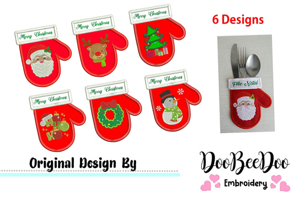 Christmas Cutlery Holder (ITH) - Set of 6 designs - Applique - Machine Embroidery Design