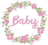 Baby Word Flowers Frame - Fill Stitch - 4x4 5x5 6x6 7x7