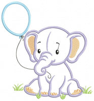 Baby Elephant Boy with Balloon - Applique - 4x4 5x5 6x6 7x7