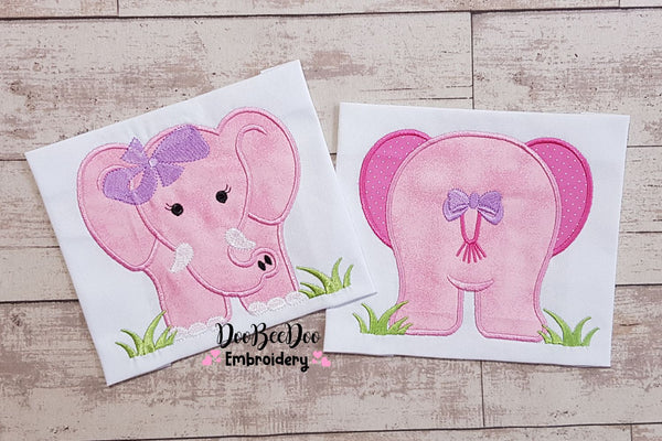 Elephant Girl Front and Back - Applique - 4x4 5x5 6x6 7x7