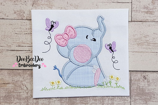 Elephant Girl - Applique - 4x4 5x5 6x6 7x7