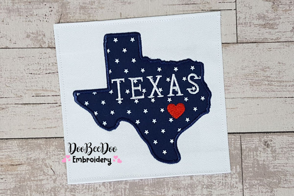 Texas Map Heart - Applique - 4x4 5x5 6x6 7x7